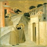 Pietro Lorenzetti (c. 1280 - 1348)  Humilitas Reaches Florence  Gold and tempera on panel, 1316  Galleria degli Uffizi, Florence, Italy